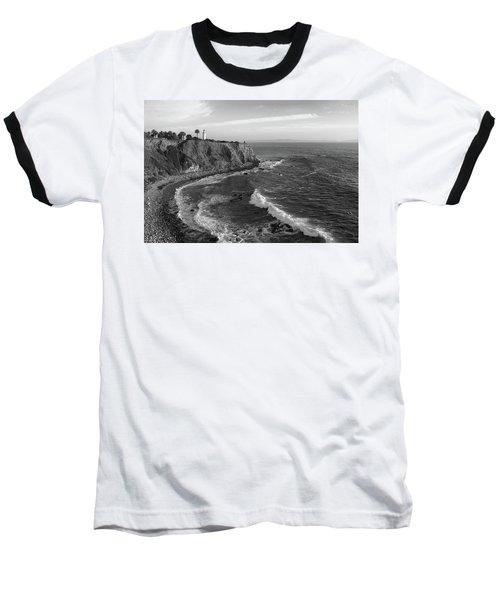 Point Vicente Lighthouse Palos Verdes California - Black And White Baseball T-Shirt