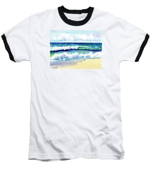 Baseball T-Shirt featuring the painting Polhale Waves 3 by Marionette Taboniar