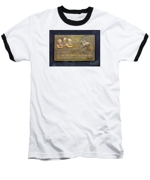 Pony Express Brass Plaque Baseball T-Shirt by Linda Phelps