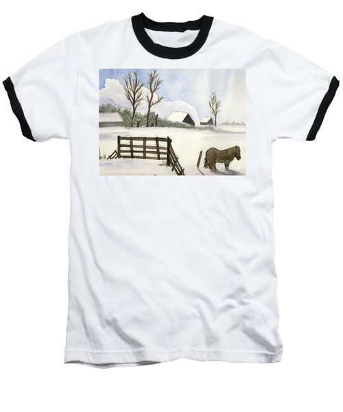 Baseball T-Shirt featuring the painting Pony In The Snow by Annemeet Hasidi- van der Leij