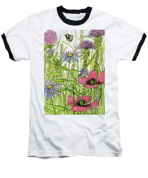 Poppies And Wildflowers Baseball T-Shirt