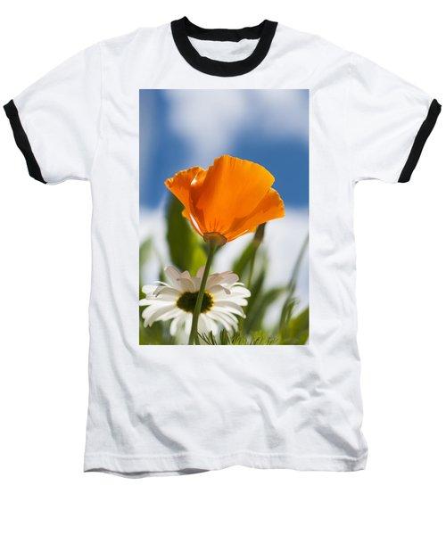 Poppy And Daisies Baseball T-Shirt