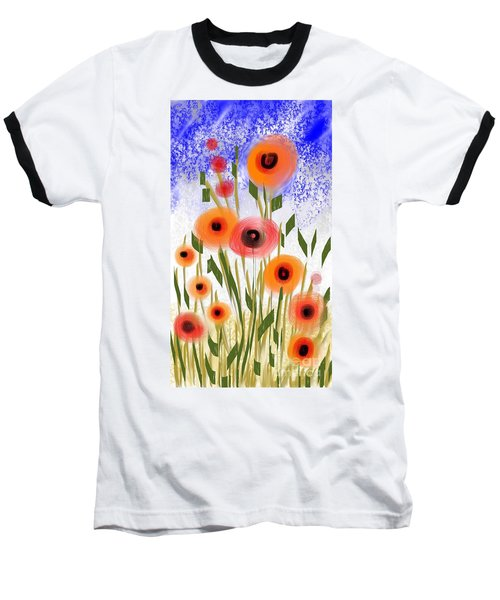 Poppy Garden Baseball T-Shirt by Elaine Lanoue