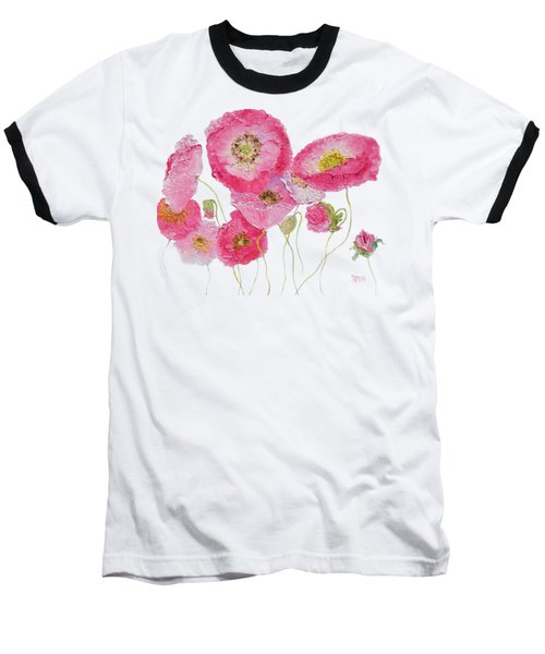 Poppy Painting On White Background Baseball T-Shirt