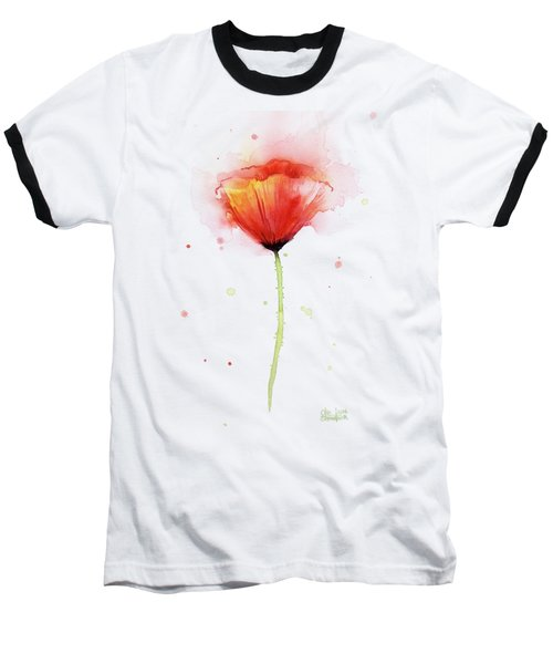 Poppy Watercolor Red Abstract Flower Baseball T-Shirt