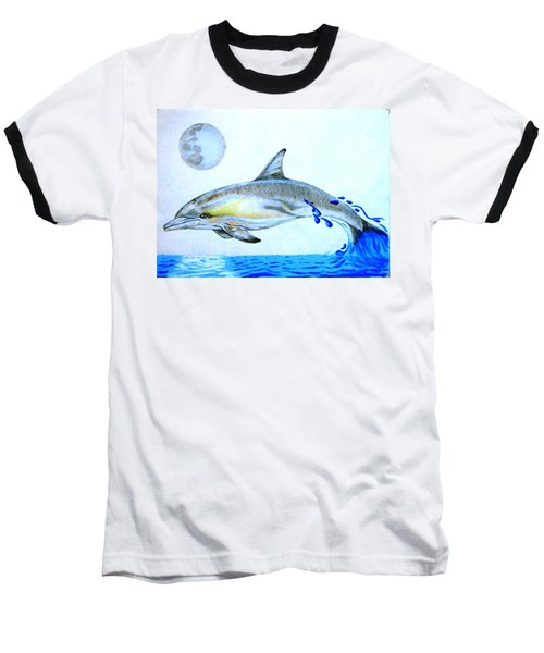 Baseball T-Shirt featuring the drawing Porpoise by Mayhem Mediums