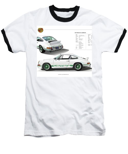 Porsche 911 Carrera Rs Illustration Baseball T-Shirt by Alain Jamar