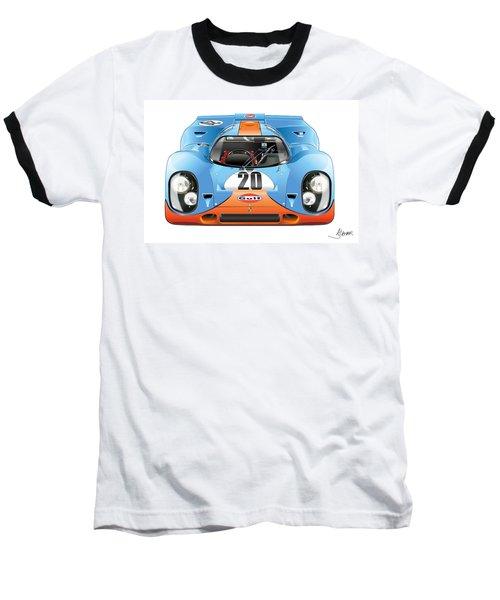 Porsche 917 Gulf On White Baseball T-Shirt by Alain Jamar