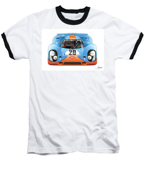 Porsche 917 Gulf On White Baseball T-Shirt
