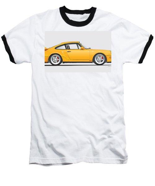 Porsche 964 Carrera Rs Illustration In Yellow. Baseball T-Shirt by Alain Jamar