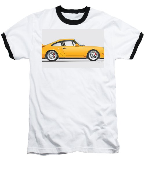 Porsche 964 Carrera Rs Illustration In Yellow. Baseball T-Shirt