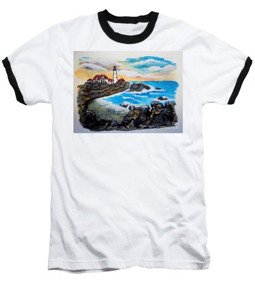 Porthead Lighthouse Maine In Watercolors Baseball T-Shirt