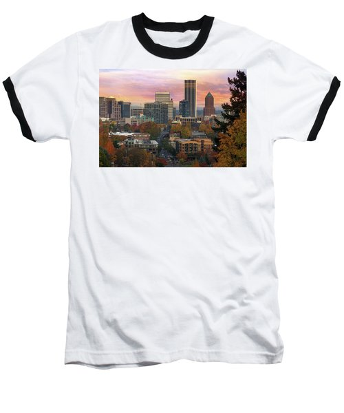 Portland Downtown Cityscape During Sunrise In Fall Baseball T-Shirt