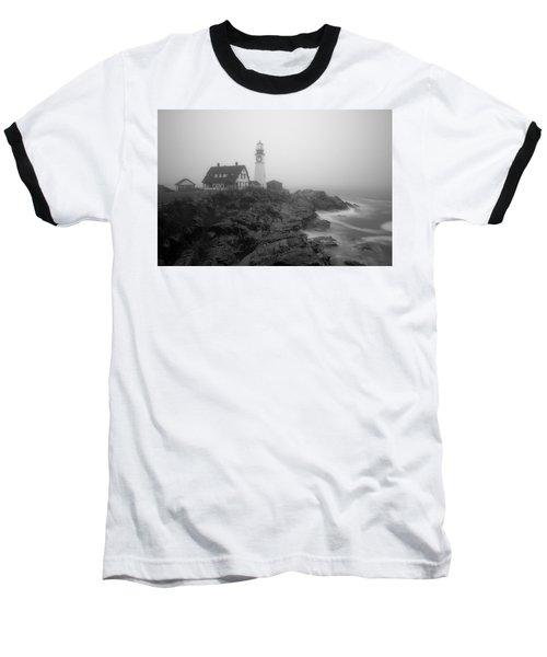 Portland Head Lighthouse In Fog Black And White Baseball T-Shirt