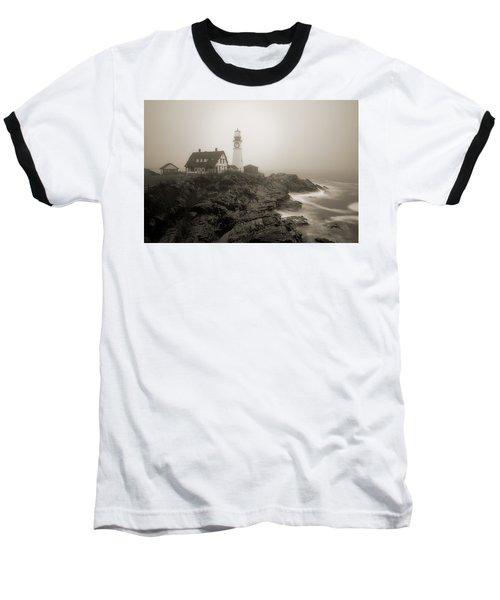 Portland Head Lighthouse In Fog Sepia Baseball T-Shirt