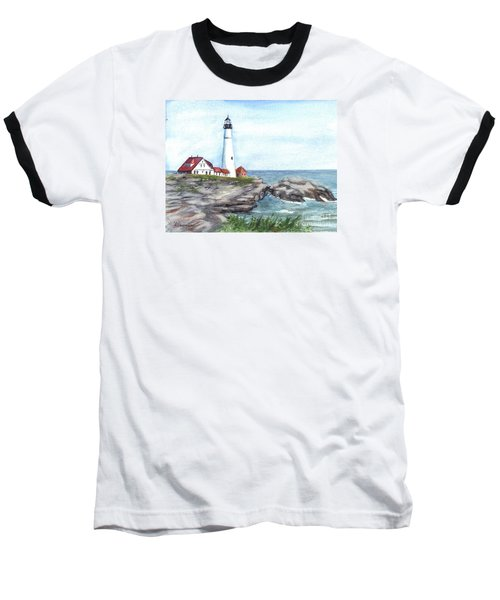 Portland Head Lighthouse Maine Usa Baseball T-Shirt by Carol Wisniewski