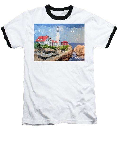 Portland Headlight By The Sea Baseball T-Shirt