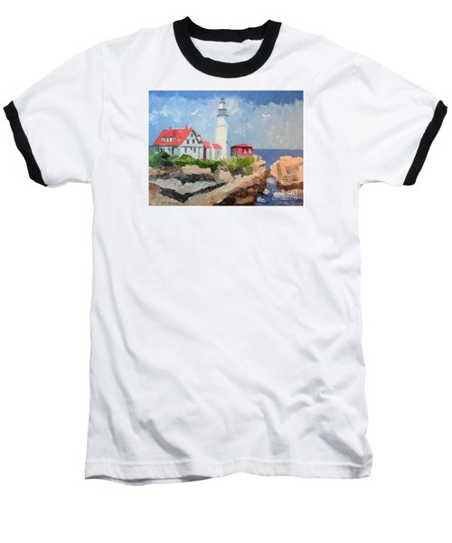 Portland Headlight By The Sea Baseball T-Shirt