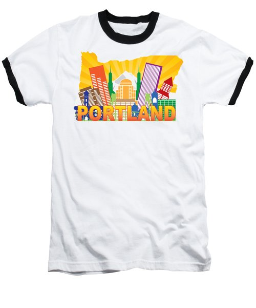 Portland Oregon Skyline In State Map Baseball T-Shirt
