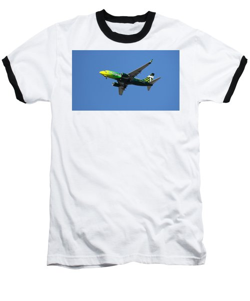 Oregon Baseball T-Shirt featuring the photograph Portland Timbers - Alaska Airlines N607as by Aaron Berg