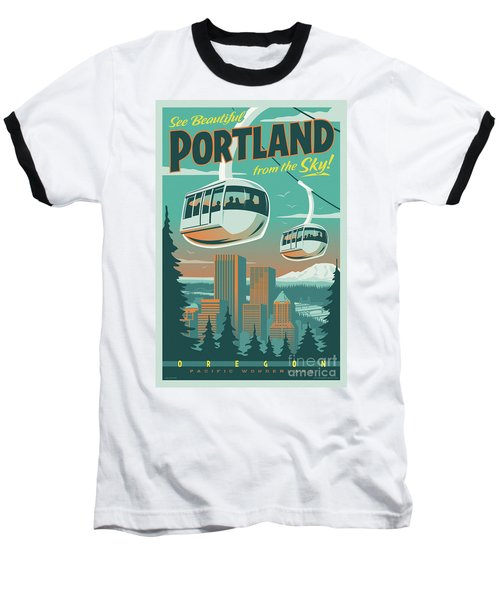 Portland Tram Retro Travel Poster Baseball T-Shirt by Jim Zahniser