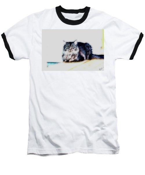 Portrait Of Maine Coon, Mattie Baseball T-Shirt by Gina O'Brien