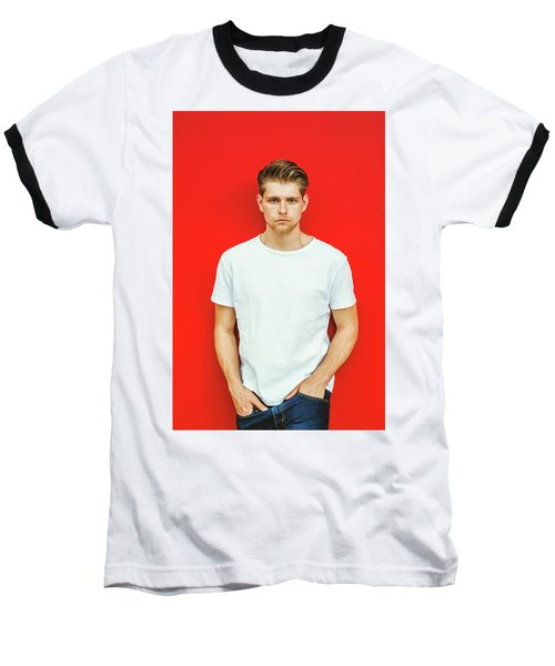 Portrait Of Young Handsome Man Baseball T-Shirt