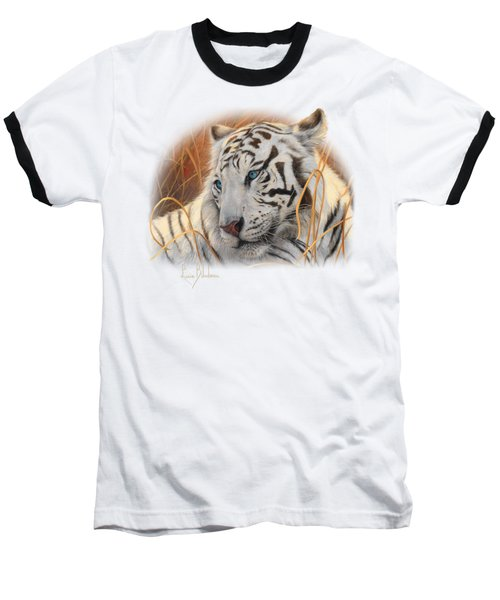 Portrait White Tiger 1 Baseball T-Shirt by Lucie Bilodeau