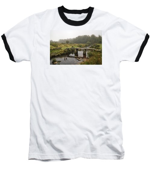 Postbridge Clapper Bridge In Dartmoor  Baseball T-Shirt by Shirley Mitchell