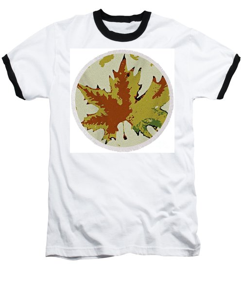 Posterised Autumn Leaf - Round Beach Towel Baseball T-Shirt