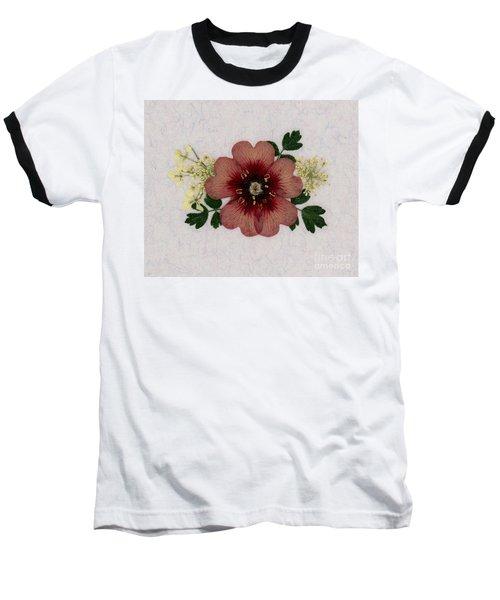 Potentilla And Queen-ann's-lace Pressed Flower Arrangement Baseball T-Shirt
