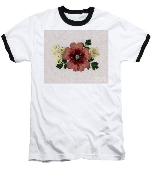 Potentilla And Queen-ann's-lace Pressed Flower Arrangement Baseball T-Shirt