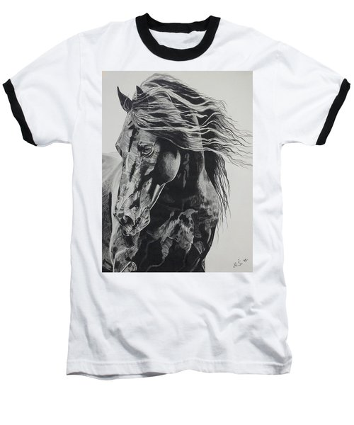 Baseball T-Shirt featuring the drawing Power Of Horse by Melita Safran
