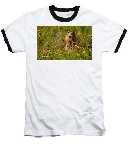 Prairie Dog In Flowers Baseball T-Shirt