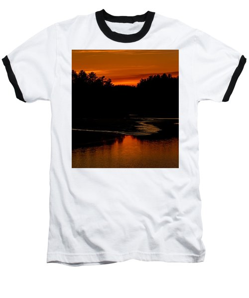 Presumpscot Sunset No.101 Baseball T-Shirt by Mark Myhaver