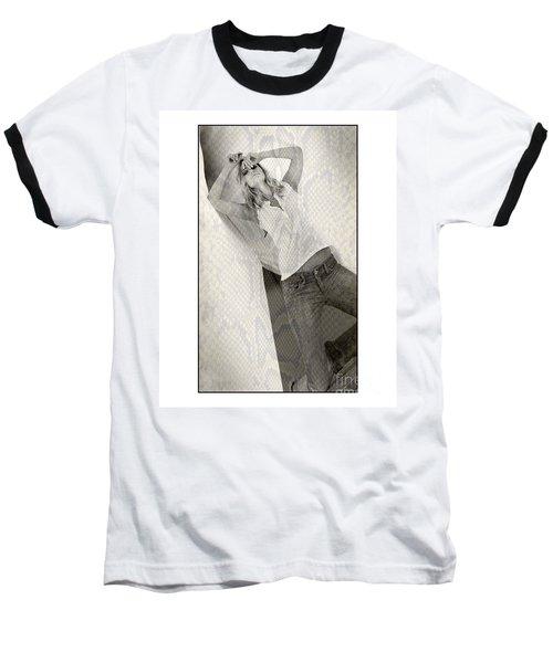 Pretty Girl On Her Knees Baseball T-Shirt