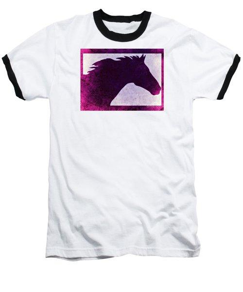 Baseball T-Shirt featuring the digital art Pretty Purple Horse  by Mindy Bench