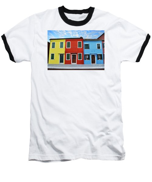 Baseball T-Shirt featuring the photograph Primary Colors Too Burano Italy by Rebecca Margraf