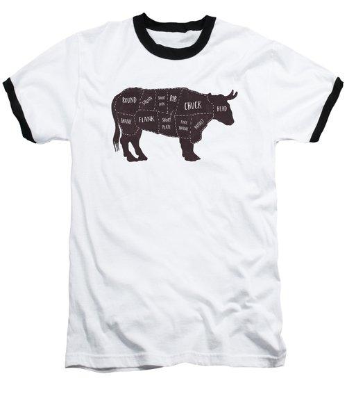 Primitive Butcher Shop Beef Cuts Chart T-shirt Baseball T-Shirt by Edward Fielding