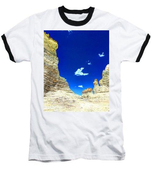 Pristine Sky Meets Historic Rocks Baseball T-Shirt