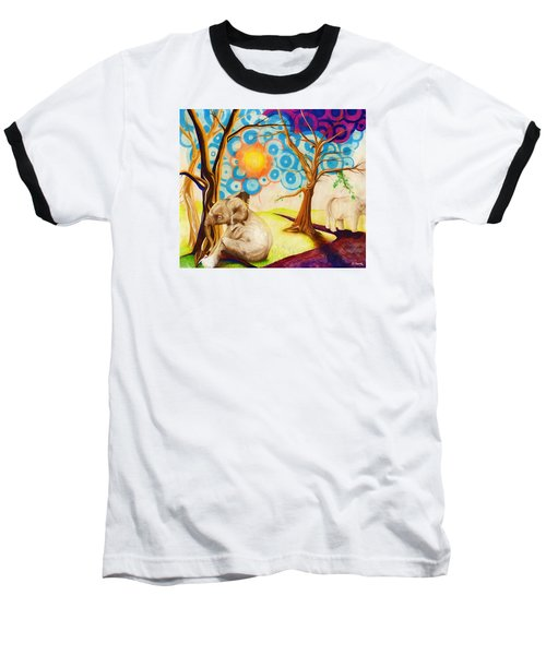 Psychedelic Elephants Baseball T-Shirt