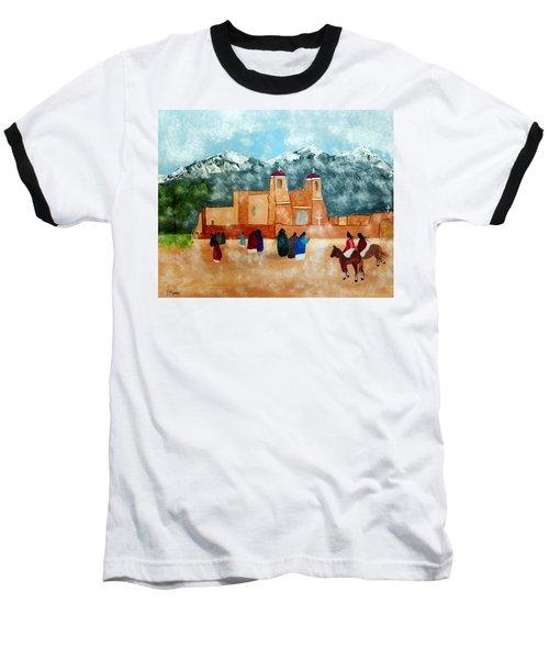 Pueblo Church Baseball T-Shirt by Joseph Frank Baraba