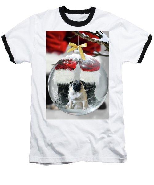 Pug And Santa Baseball T-Shirt