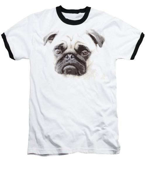 Pug Dog -  Parallel Hatching Baseball T-Shirt