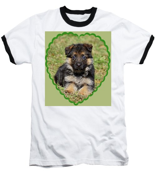 Baseball T-Shirt featuring the photograph Puppy In Heart by Sandy Keeton