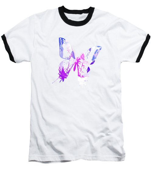 Purple Abstract Paint Pattern Baseball T-Shirt