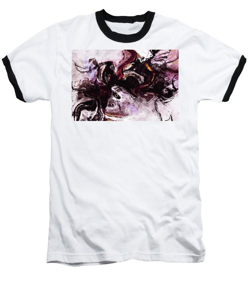 Purple Abstract Painting / Surrealist Art Baseball T-Shirt by Ayse Deniz