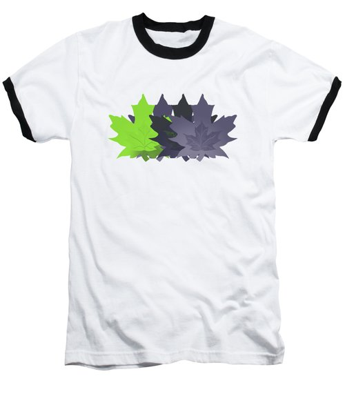 Purple And Green Leaves Baseball T-Shirt by Methune Hively