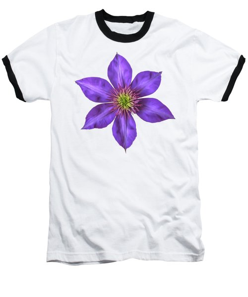 Purple Clematis Flower With Soft Look Effect Baseball T-Shirt by Rose Santuci-Sofranko
