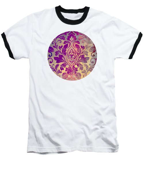 Purple Damask Pattern Baseball T-Shirt